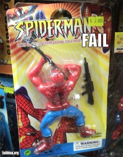children,failboat,g rated,guns,Spider-Man,super heroes,toys