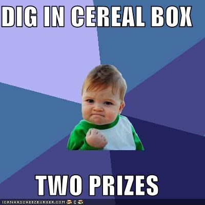 DIG IN CEREAL BOX TWO PRIZES
