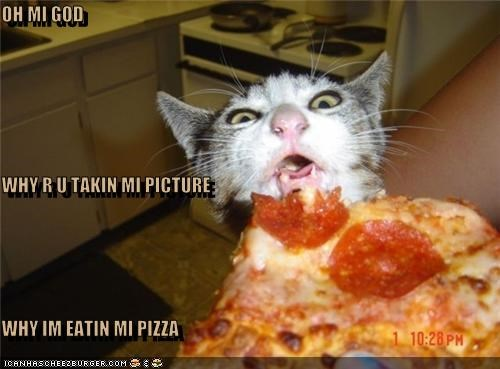 Oh Mi God Why R U Takin Mi Picture Why Im Eatin Mi Pizza I
