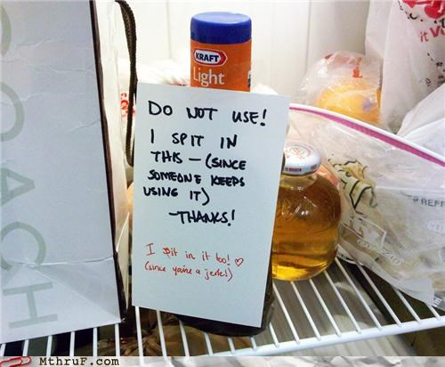 note,passive aggressive,refrigerator,spit,take that