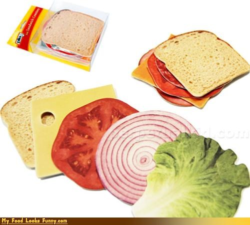 bread cardboard cheese coasters condiments fruits-veggies lettuce meat onion sandwich tomato - 4239901184