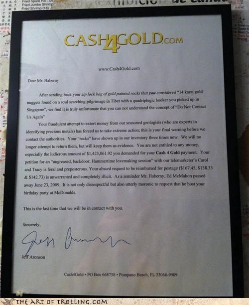 cash4gold,gold-painted rocks,IRL,letter,troll king