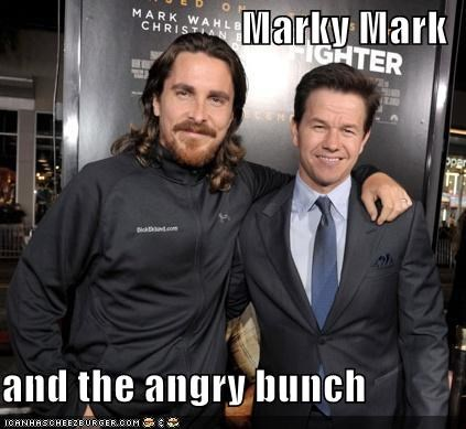actor,celeb,christian bale,funny,lolz,Mark Wahlberg