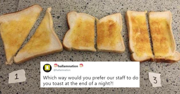 Funny listicle about twitter debate over how to properly cut toast, Sheffield Hallam university, party, food, bread.