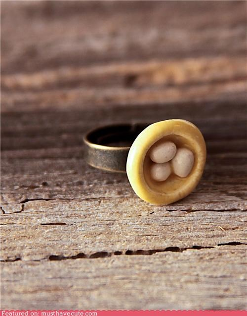 bird nest egg eggs Jewelry nest ring tiny - 4241305344