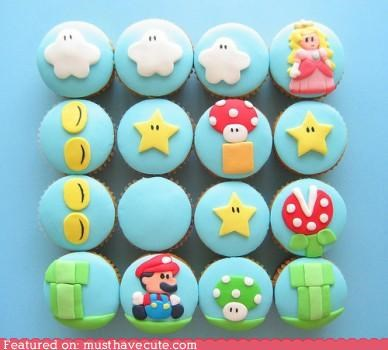 cupcakes,epicute,fondant,mario,nintendo,video game