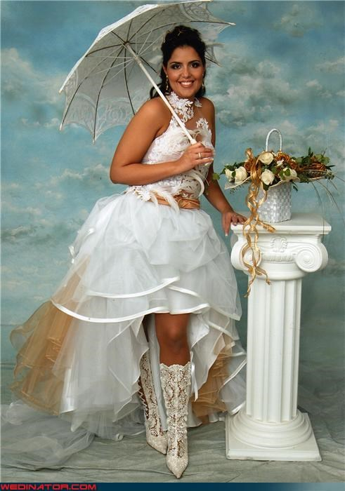 bride,bride portrait,bride white boots wedding day,bride with parasol,crazy bride picture,Crazy Brides,fashion is my passion,funny wedding photos,lace,professional bride photograph,ridiculous bride,Wedding Themes,white lace boots wedding day,wtf