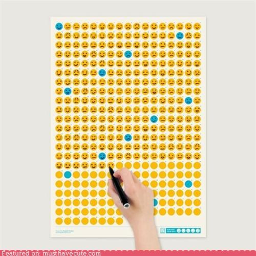 calendar daily emotions faces mood smileys wall hanging