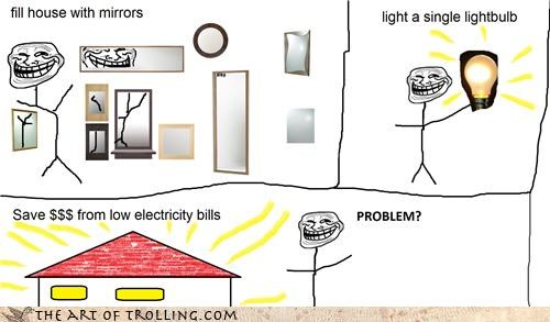bounces forever,electricity bills,light,mirrors,savings,troll science