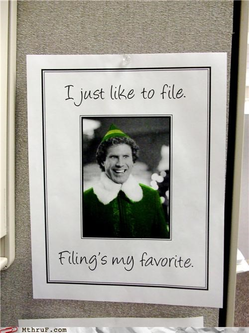 cubicle,elf,signs,Will Ferrell
