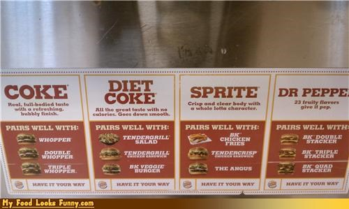 bk,burger king,drink,drink pairings,pairings,signs,soda pairings,sodas,soft drinks