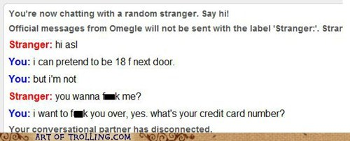 Omegle credit cards identity theft fraud - 4244084736