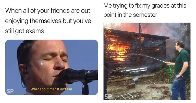 Funny memes about the end of the college semester, christmas break, grades, failing, university.