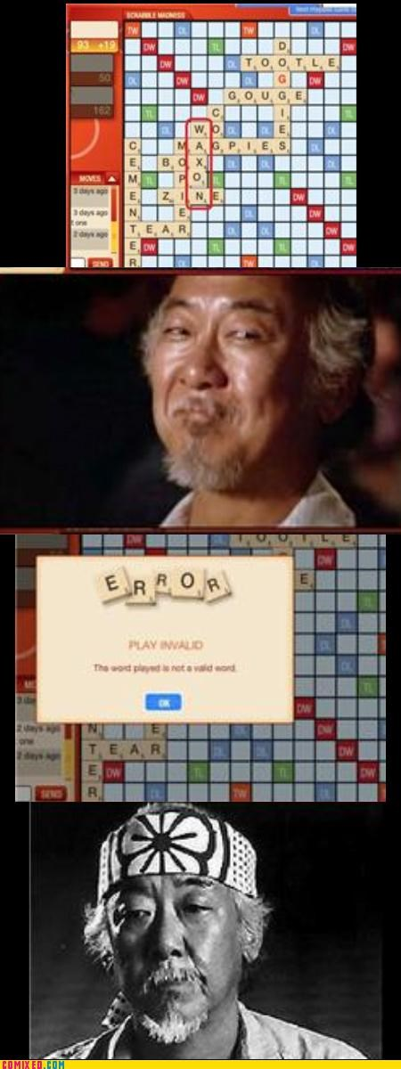 From the Movies,language,pat morita,Sad,scrabble,the karate kid