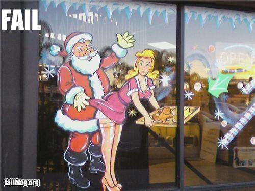 Awkward christmas failboat holiday innuendo santa Spirit Tis the Season window - 4244316672