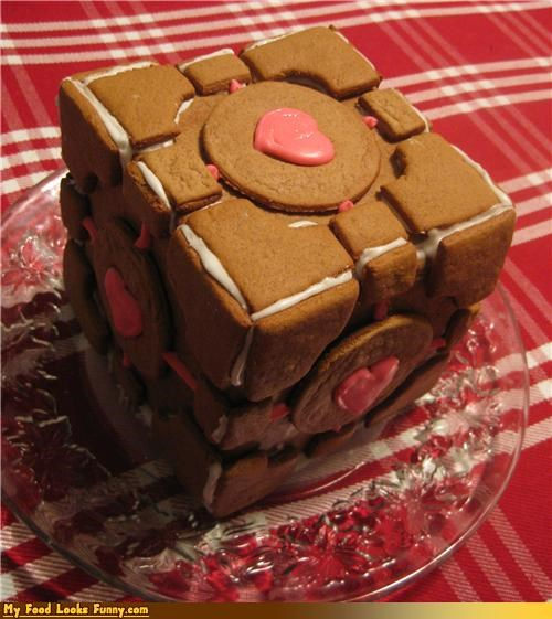 companion cube,gingerbread,Portal,video game