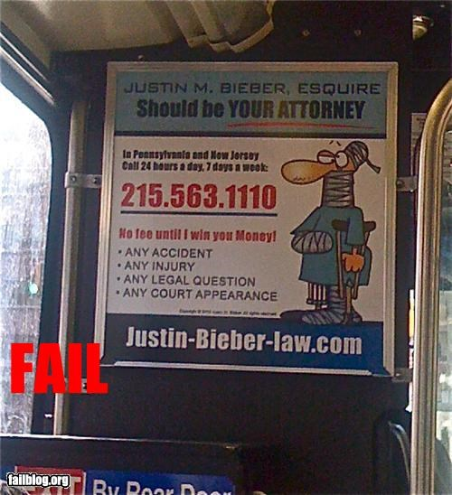 Ad attorney celeb failboat g rated justin bieber name sign - 4245350912