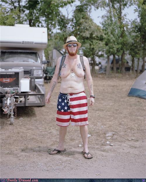 American Flag beard juggalo sandals shorts - 4245369344