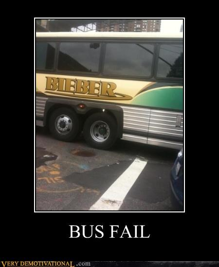 Bieber,bus,FAIL,justin bieber,sad but true