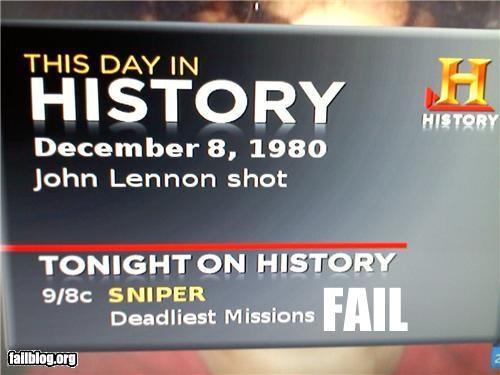 anniversary,failboat,g rated,guns,john lennon,scheduling,shot,snipers,television