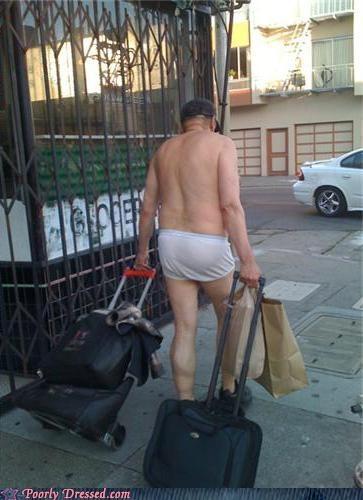 suitcases,sidewalk,underwear