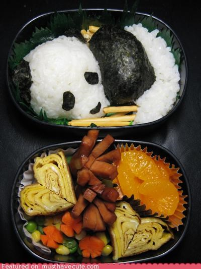 bento box epicute lunch meal nori panda rice seaweed - 4246474496