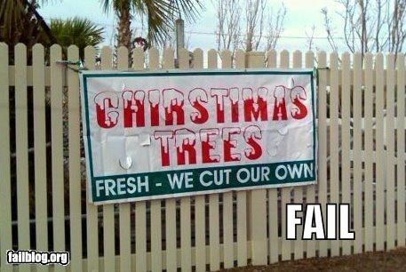 christmas,failboat,g rated,signs,spelling,trees