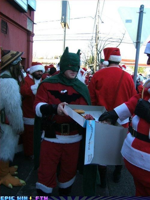 awesome,batman,costume,donuts,FTW,santacon,wtf