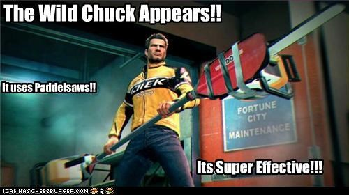 The Wild Chuck Appears!! It uses Paddelsaws!! Its Super Effective!!!