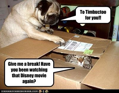 To Timbuctoo for you!! Give me a break! Have you been watching that Disney movie again?