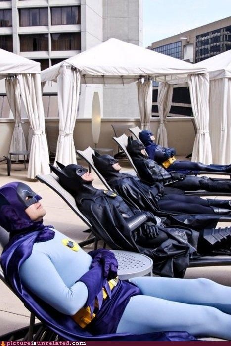 batman,costume,good question,so many batmans,superheros,swimming pool,tanning,wtf