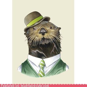 bowler,hat,otter,print,shirt tie,vest