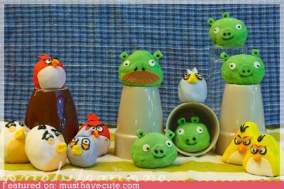 android angry birds birds cake epicute fondant frosting game iphone pig