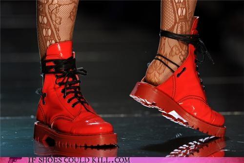 boots,Doc Martens,jean-paul gaultier,no heel,shiny