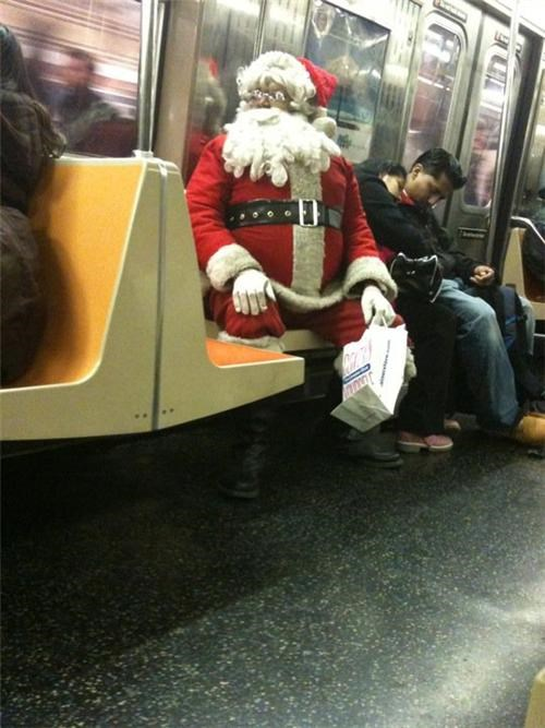 black santa sleigh Subway weird wtf