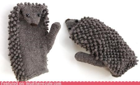 animal cold Knitted mittens soft winter wool