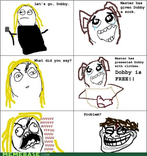 comics,Dobby,Harry Potter,Hogwarts,troll face