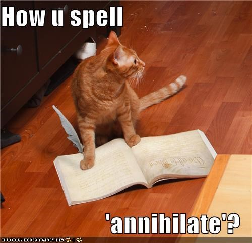 annihilate book caption captioned cat dictionary how question spell spelling tabby word
