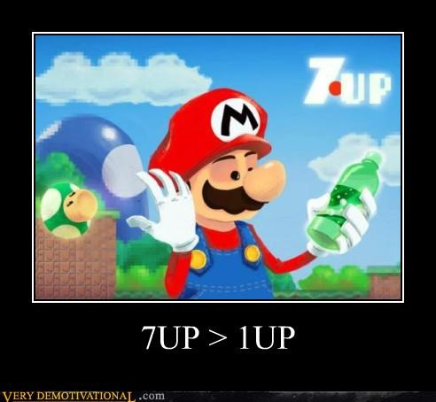 1 up,7-up,Mushrooms,Product Placement,soda,super mario,video games