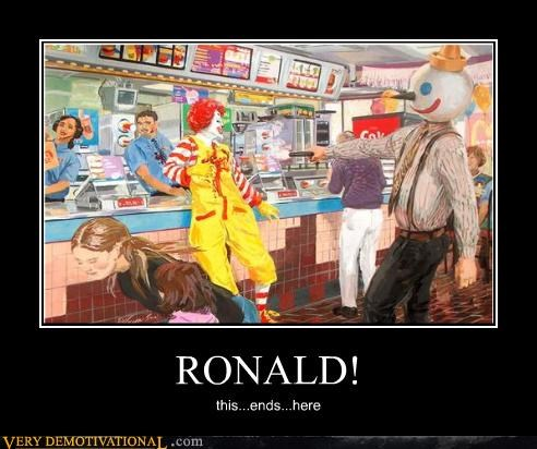 drawing,fast food,jack in the box,reminds me of this one time,Ronald McDonald,sad but true,war