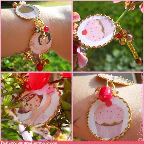 bracelet,cupcakes,gold,Jewelry,little girl,pink