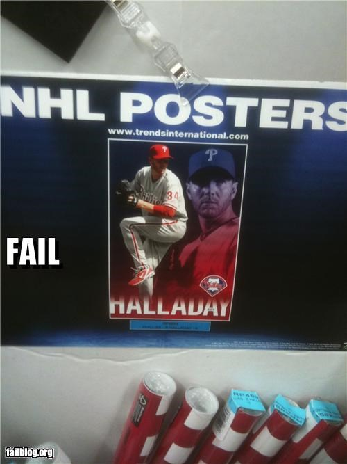 "NHL Poster Fail Image of an MLB player on a box of ""NHL"" posters"
