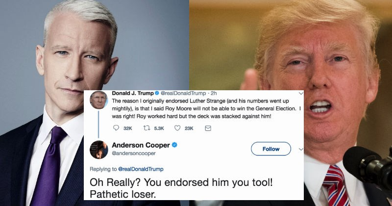 Anderson Cooper loses his mind at Donald Trump on Twitter and then denies that it ever happened.