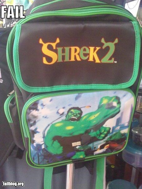 backpack comics failboat g rated movies shrek superhero the hulk - 4255826688