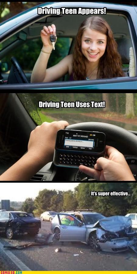 danger driving Pokémon teens texting the internets - 4256336384