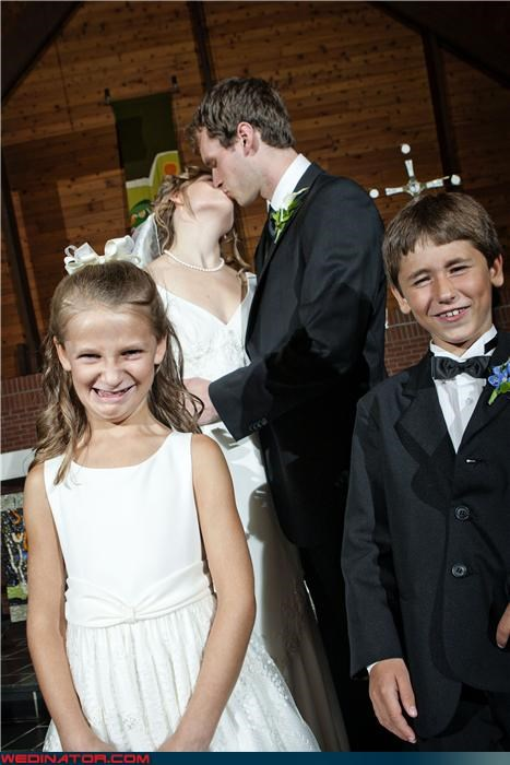 bride bride and groom kissing ew eww flower girl funny flower girl picture funny ring bearer picture funny wedding photos groom icky making out miscellaneous-oops were-in-love wedding party - 4256831488