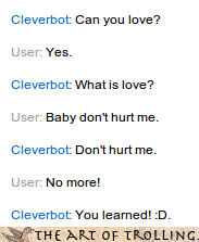Cleverbot Haddaway what is love - 4258352640