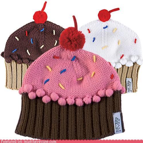 cap cherry cupcake hat knit pom pom sprinkles - 4258617088
