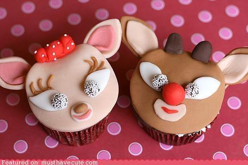 Clarice,cupcakes,epicute,faces,fondant,reindeer,rudolph