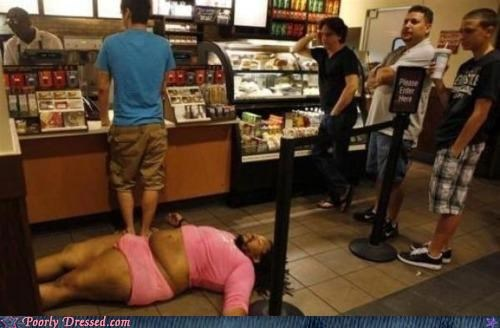 passed out pink Starbucks tight clothes wtf